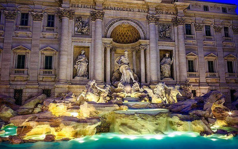 Throw your coin in the Trevi Fountain
